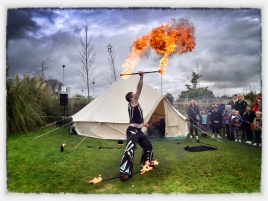 Fire performer at Wimborne Food Festival