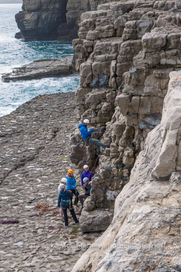 Climbers at Dancing Ledge