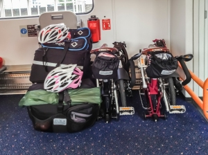 Gear and bikes loaded on to train