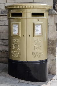 Postbox painted gold in honour of local man Ed McKeever's Olympic Gold Medal