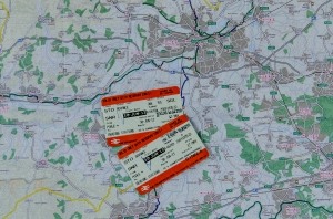 Train tickets and National Cycle Network (NCN) map