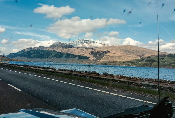 Loch Lomond with snowy Ben Lomond (and squished flies on the windscreen!)
