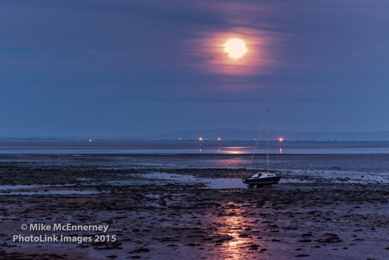 Supermoon over the Solway Firth (shame about the veil of cloud over it!)